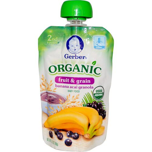 Gerber, 2nd Foods, Organic Baby Food, Fruit & Grain, Banana Acai Granola, 3.5 oz (99 g) Review