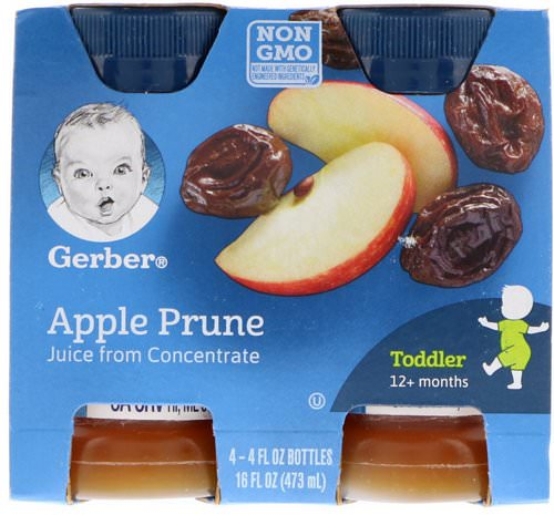 Gerber, Apple Prune Juice, Toddler, 12+ Months, 4 Pack, 16 fl oz (473 ml) Review