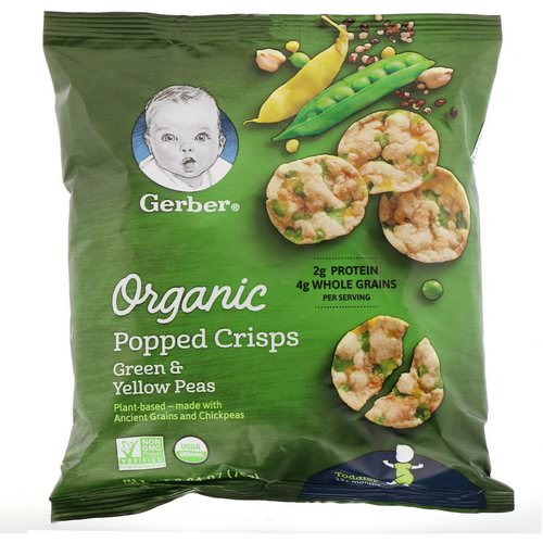 Gerber, Organic Popped Crisps, 12+ months, Green & Yellow Peas, 2.64 oz (75 g) Review