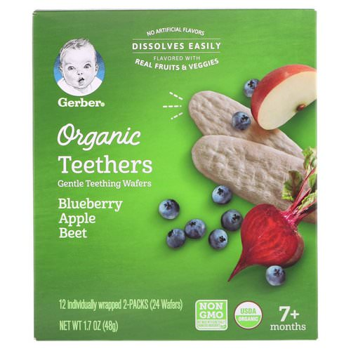 Gerber, Organic Teethers, Gentle Teething Wafers, 7+ Months, Blueberry Apple Beet, 1.7 oz (48 g) Review