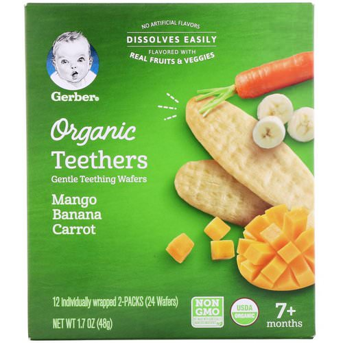 Gerber, Organic Teethers, Gentle Teething Wafers, 7+ Months, Mango Banana Carrot, 24 Wafers, 1.7 oz (48 g) Review