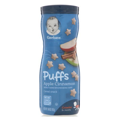 Gerber, Puffs Cereal Snack, Crawler, 8+ Months, Apple Cinnamon, 1.48 oz (42 g) Review