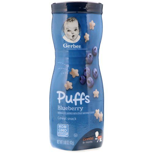 Gerber, Puffs, Cereal Snack, Crawler, 8+ Months, Blueberry, 1.48 oz (42 g) Review