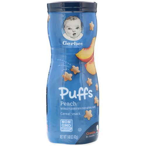 Gerber, Puffs Cereal Snack, Crawler, 8+ Months, Peach, Crawler, 1.48 oz (42 g) Review