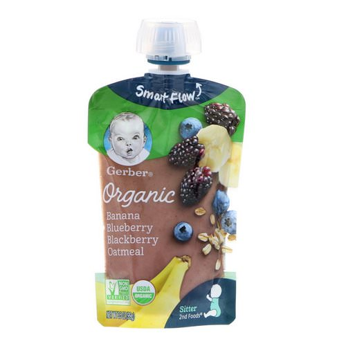 Gerber, Smart Flow Sitter 2nd Foods, Organic, Banana, Blueberry & Blackberry Oatmeal, 3.5 oz (99 g) Review
