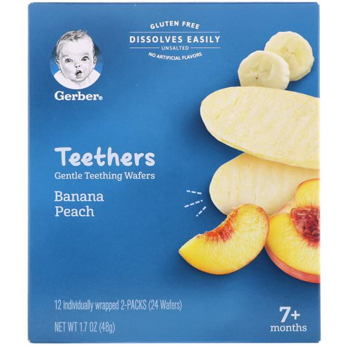 Gerber, Teethers, Gentle Teething Wafers, 7+ Months, Banana Peach, 24 Wafers, 1.7 oz (48 g) Review