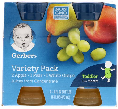 Gerber, Variety Juice Pack, Toddler, 12+ Months, 4 Pack, 4 fl oz (118 ml) Each Review