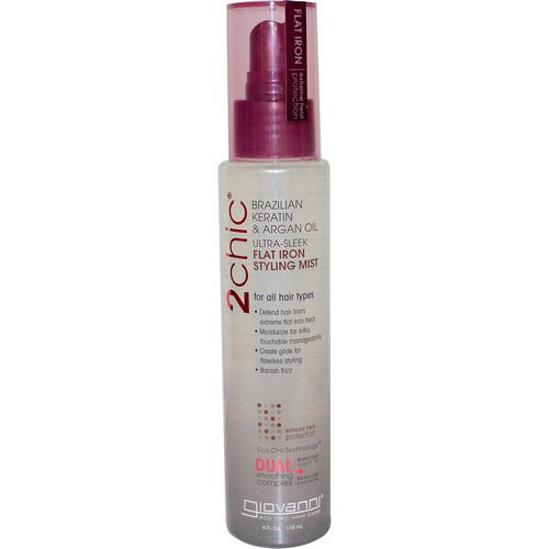 Giovanni, 2chic, Flat Iron Styling Mist, Brazilian Keratin & Argan Oil, 4 fl oz (118 ml) Review