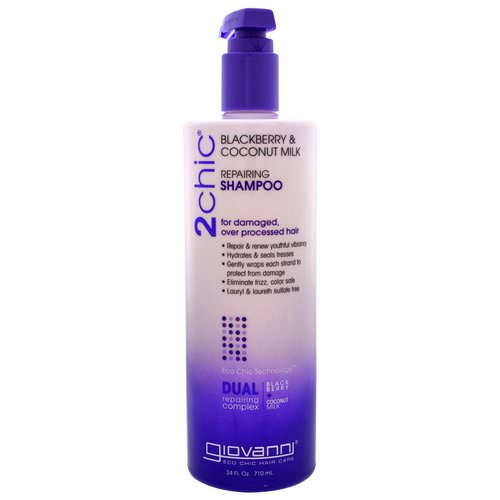 Giovanni, 2chic, Repairing Shampoo, for Damaged, Over Processed Hair, Blackberry & Coconut Milk, 24 fl oz (710 ml) Review