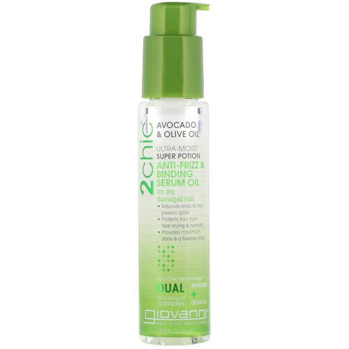 Giovanni, 2chic, Ultra-Moist Super Potion Anti-Frizz & Binding Serum Oil, Avocado & Olive Oil, 2.75 fl oz (81 ml) Review