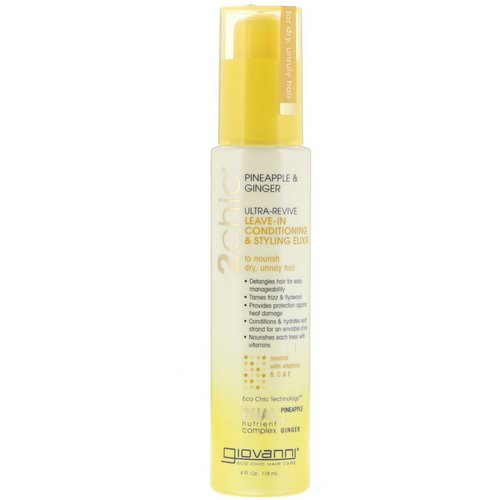 Giovanni, 2chic, Ultra-Revive Leave-In Conditioning & Styling Elixir, Pineapple & Ginger, 4 fl oz (118 ml) Review