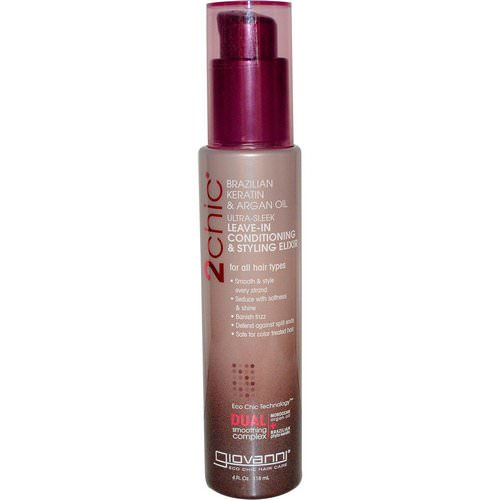 Giovanni, 2chic, Ultra-Sleek Leave-In Conditioning & Styling Elixir, Brazilian Keratin & Argan Oil, 4 fl oz (118 ml) Review
