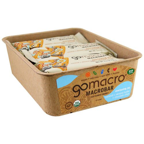 GoMacro, Macrobar, Everlasting Joy, Coconut + Almond Butter + Chocolate Chips, 12 Bars, 2.3 oz (65 g) Each Review