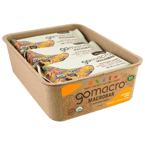 GoMacro, Macrobar, Prolonged Power, Banana + Almond Butter, 12 Bars, 2.3 oz (65 g) Each Review