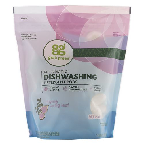 Grab Green, Automatic Dishwashing Detergent Pods, Thyme with Fig Leaf, 60 Loads,2lbs, 6oz (1,080 g) Review