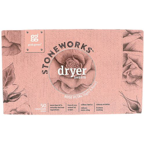 Grab Green, Stoneworks, Dryer Sheets, Rose Petal, 50 Sheets Review