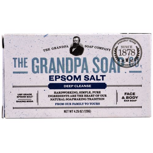 Grandpa's, Face & Body Bar Soap, Deep Cleanse, Epsom Salt, 4.25 oz (120 g) Review