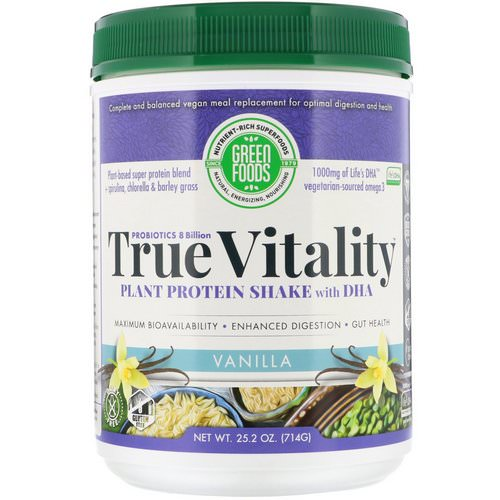 Green Foods, True Vitality, Plant Protein Shake with DHA, Vanilla, 1.57 lbs (714 g) Review