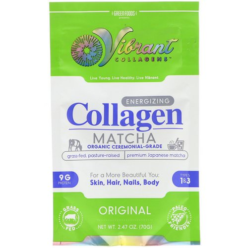 Green Foods, Vibrant Collagens, Energizing Collagen Matcha, Original, 2.47 oz (70 g) Review