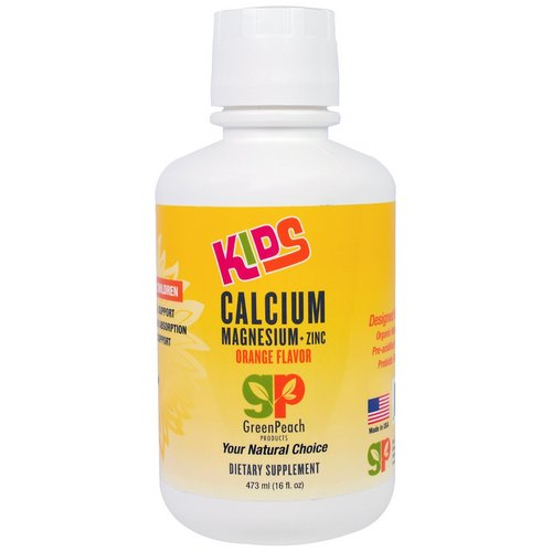 GreenPeach, Kids, Calcium Magnesium + Zinc, Orange Flavor, 16 fl oz (473 ml) Review