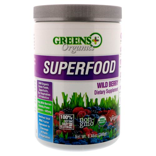 Greens Plus, Organics Superfood, Wild Berry, 8.46 oz (240 g) Review