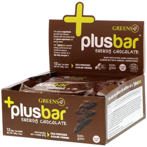 Greens Plus, Plusbar, Energy Chocolate, 12 Bars, 2 oz (59 g) Each Review