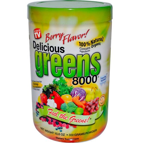 Greens World, Delicious Greens 8000, Berry Flavor, Powder, 10.6 oz (300 g) Review