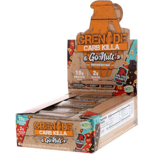 Grenade, Carb Killa, Go Nuts Protein Nut Bar, Salted Peanut, 15 Bars, 1.41 oz (40 g) Each Review