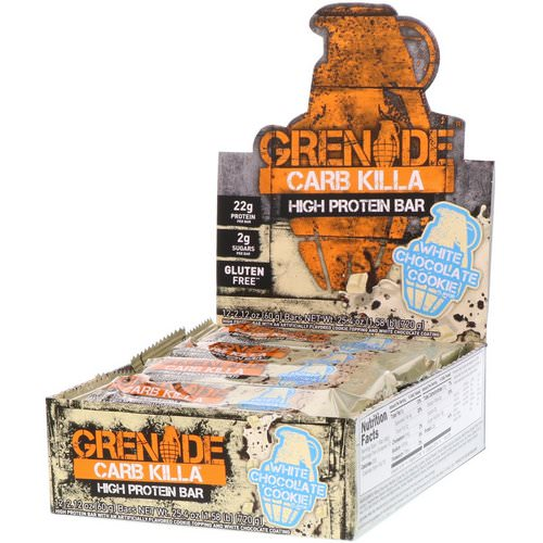 Grenade, Carb Killa High Protein Bar, White Chocolate Cookie, 12 Bars, 2.12 oz (60 g) Each Review