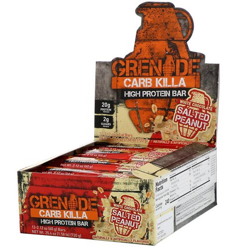 Grenade, Carb Killa, High Protein Bar, White Chocolate Salted Peanut, 12 Bars, 2.12 oz (60 g) Each Review