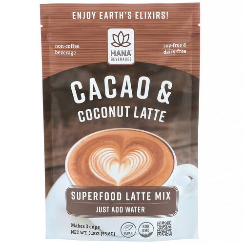 Hana Beverages, Cacao & Coconut Latte, Non-Coffee Superfood Beverage, 3.3 oz (93.6 g) Review