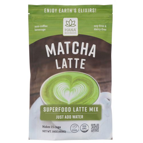 Hana Beverages, Matcha Latte, Non-Coffee Superfood Beverage, 16 oz (454 g) Review