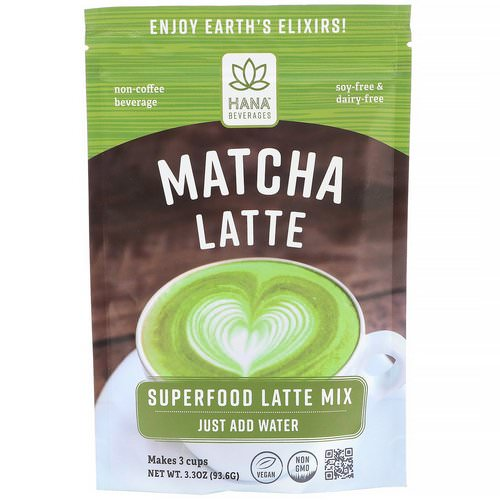 Hana Beverages, Matcha Latte, Non-Coffee Superfood Beverage, 3.3 oz (93.6 g) Review