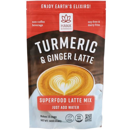 Hana Beverages, Turmeric & Ginger Latte, Non-Coffee Superfood Beverage, 16 oz (454 g) Review
