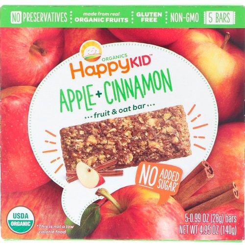 Happy Family Organics, Happy Kid, Apple + Cinnamon, Fruit & Oat Bar, 5 Bars, 0.99 oz (28 g) Each Review