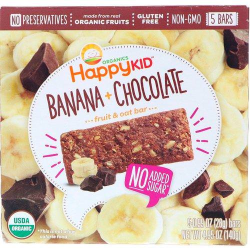 Happy Family Organics, Happy Kid, Banana + Chocolate, Fruit & Oat Bar, 5 Bars, 0.99 oz (28 g) Each Review