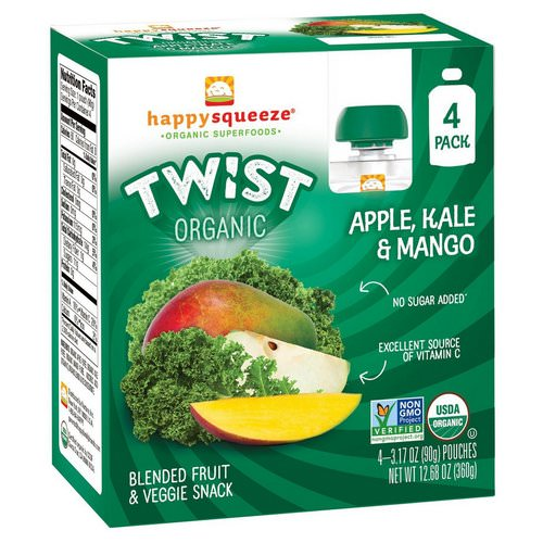 Happy Family Organics, Happy Squeeze, Organic Superfoods, Twist, Organic Apple, Kale & Mango, 4 Pouches, 3.17 oz (90 g) Each Review