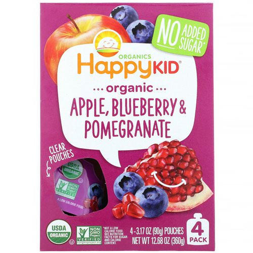 Happy Family Organics, Happy Kid, Organic Apple, Blueberry & Pomegranate, 4 Pouches, 3.17 oz (90 g) Each Review