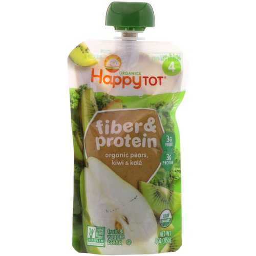 Happy Family Organics, Happy Tot, Fiber & Protein, Organic Pears, Kiwi & Kale, Stage 4, 4 oz (113 g) Review