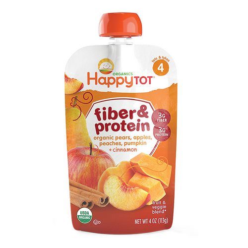 Happy Family Organics, Happy Tot, Fiber & Protein, pears, apples, peaches, pumpkin & cinnamon, Stage 4, 4 oz (113 g) Review