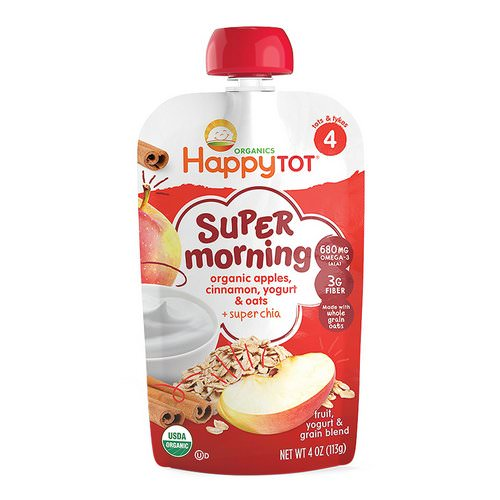 Happy Family Organics, Happy Tot, Stage 4, Super Morning, Fruit, Yogurt & Grain Blend, Organic Apples, Cinnamon, Yogurt & Oats, 4 oz (113 g) Review