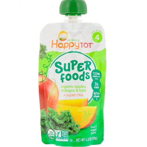 Happy Family Organics, Happy Tot, Super Foods, Organic Apples, Mangos & Kale + Super Chia, 4.22 oz (120 g) Review