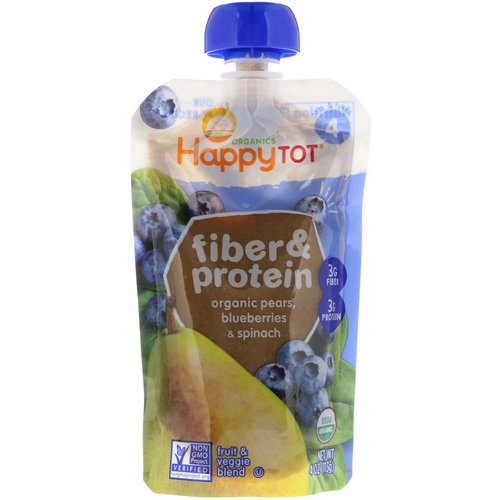 Happy Family Organics, Happytot, Fiber & Protein, Organic Pears, Blueberries & Spinach, 4 oz (113 g) Review