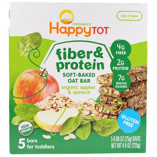 Happy Family Organics, Happytot, Fiber & Protein Soft-Baked Oat Bar, Organic Apples & Spinach, 5 Bars, 0.88 oz (25 g) Each Review