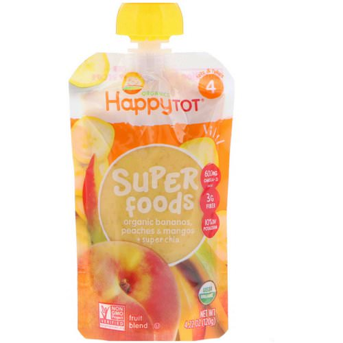 Happy Family Organics, HappyTot, SuperFoods, Bananas, Peaches & Mangos + Super Chia, 4.22 oz (120 g) Review