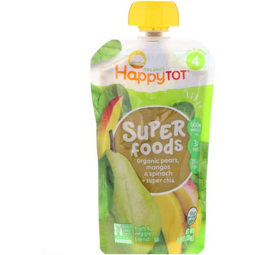 Happy Family Organics, HappyTot, SuperFoods, Organic Pears, Mangos & Spinach + Super Chia, 4.22 oz (120 g) Review
