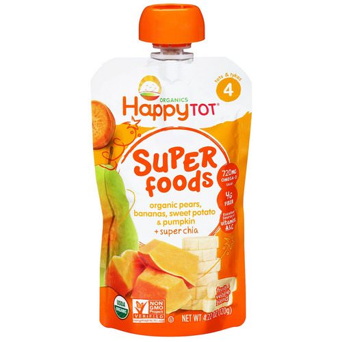 Happy Family Organics, Happytot, Superfoods, Pears, Bananas, Sweet Potato & Pumpkin + Superchia, 4.22 oz (120 g) Review