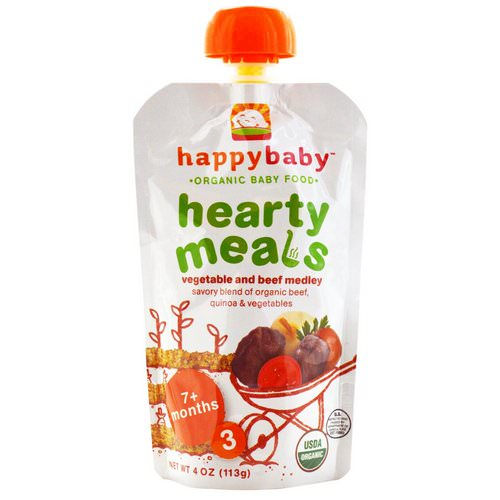 Happy Family Organics, Organic Baby Food, Hearty Meals, Vegetable and Beef Medley, 7+ Months, Stage 3, 4 oz (113 g) Review