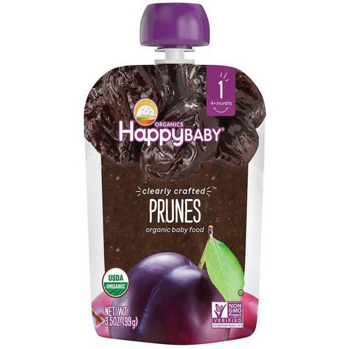 Happy Family Organics, Organic Baby Food, Stage 1, Clearly Crafted, Prunes, 4 + Months, 3.5 oz (99 g) Review