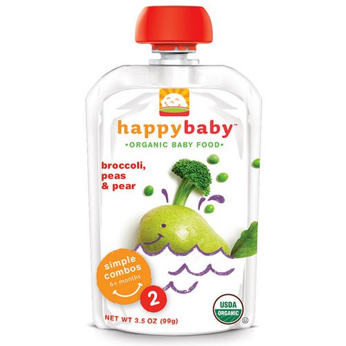 Happy Family Organics, Organic Baby Food, Stage 2, 6+ Months, Broccoli, Peas & Pear, 3.5 oz (99 g) Review